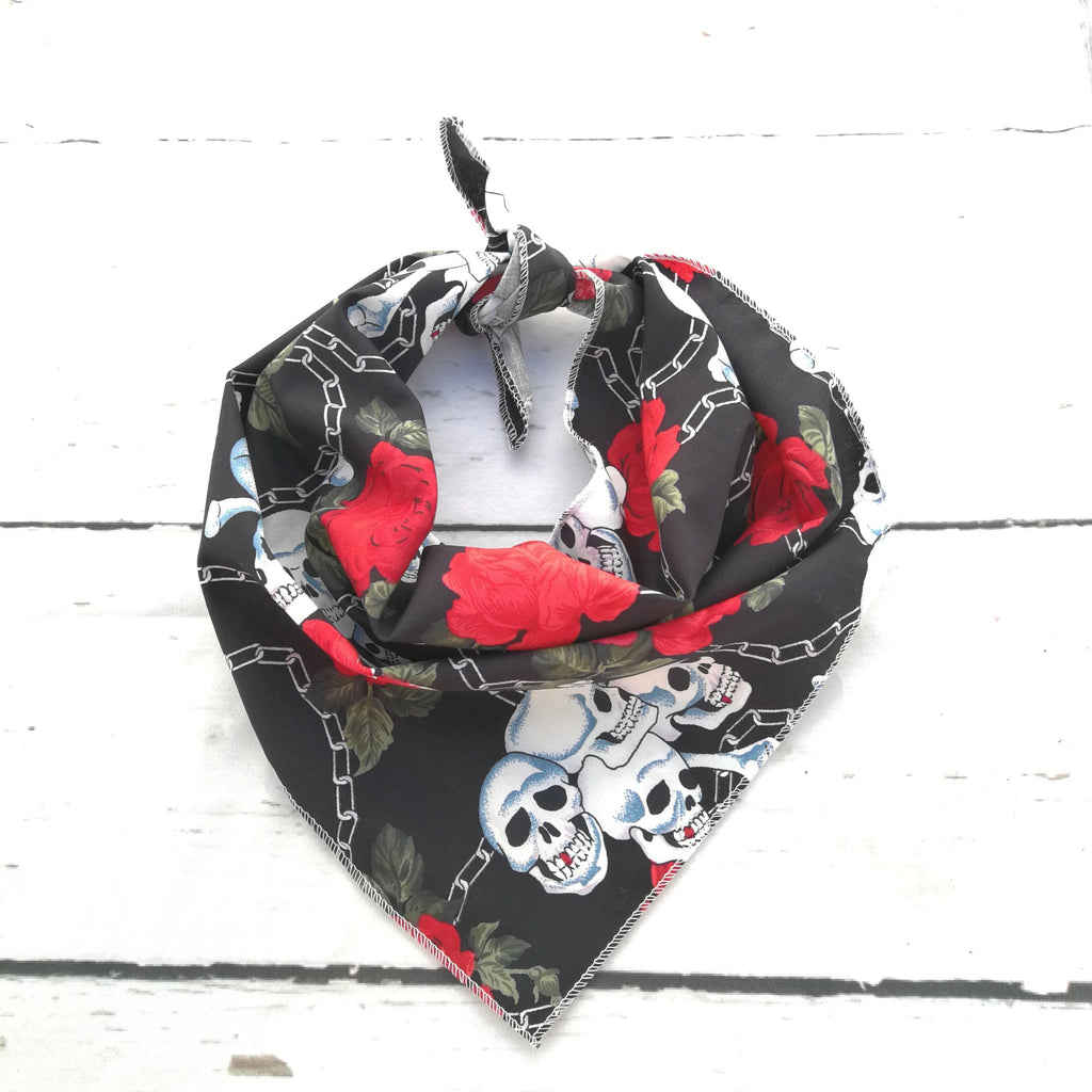 Pet Pooch Boutique Skulls & Roses Dog Bandana