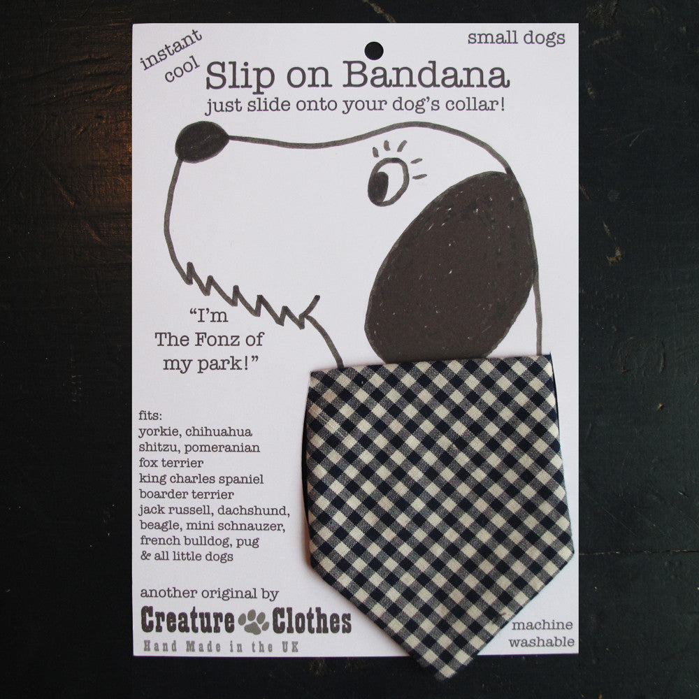 Creature Clothes Blue Gingham Slip-on Dog Bandana - PurrfectlyYappy
