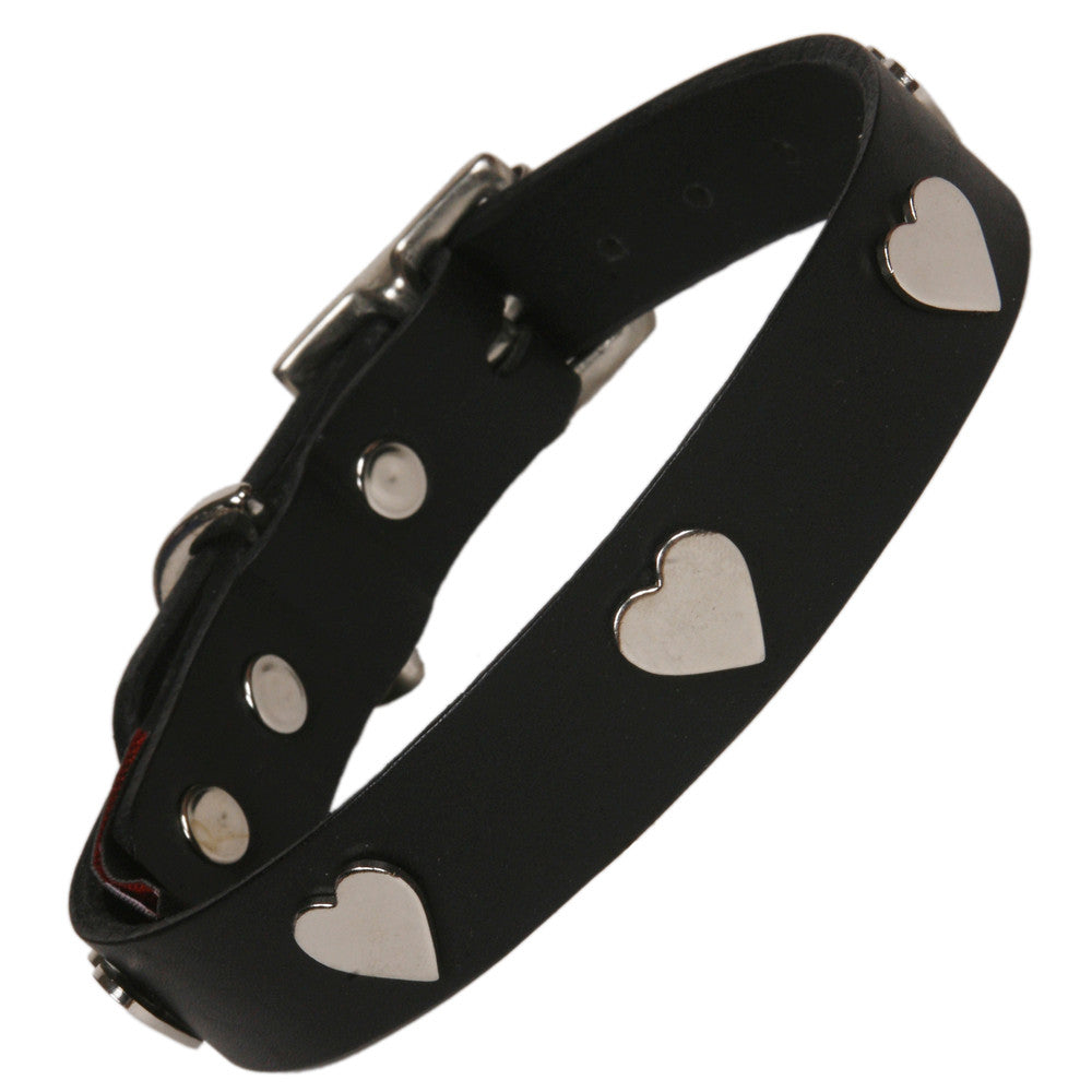 Creature Clothes Silver Heart Handmade Black Leather Dog Collar - PurrfectlyYappy