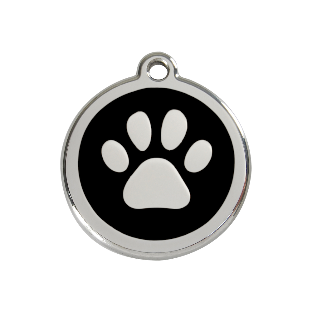 Red Dingo Enamel Pet Tag - Paw Tag in Black - PurrfectlyYappy