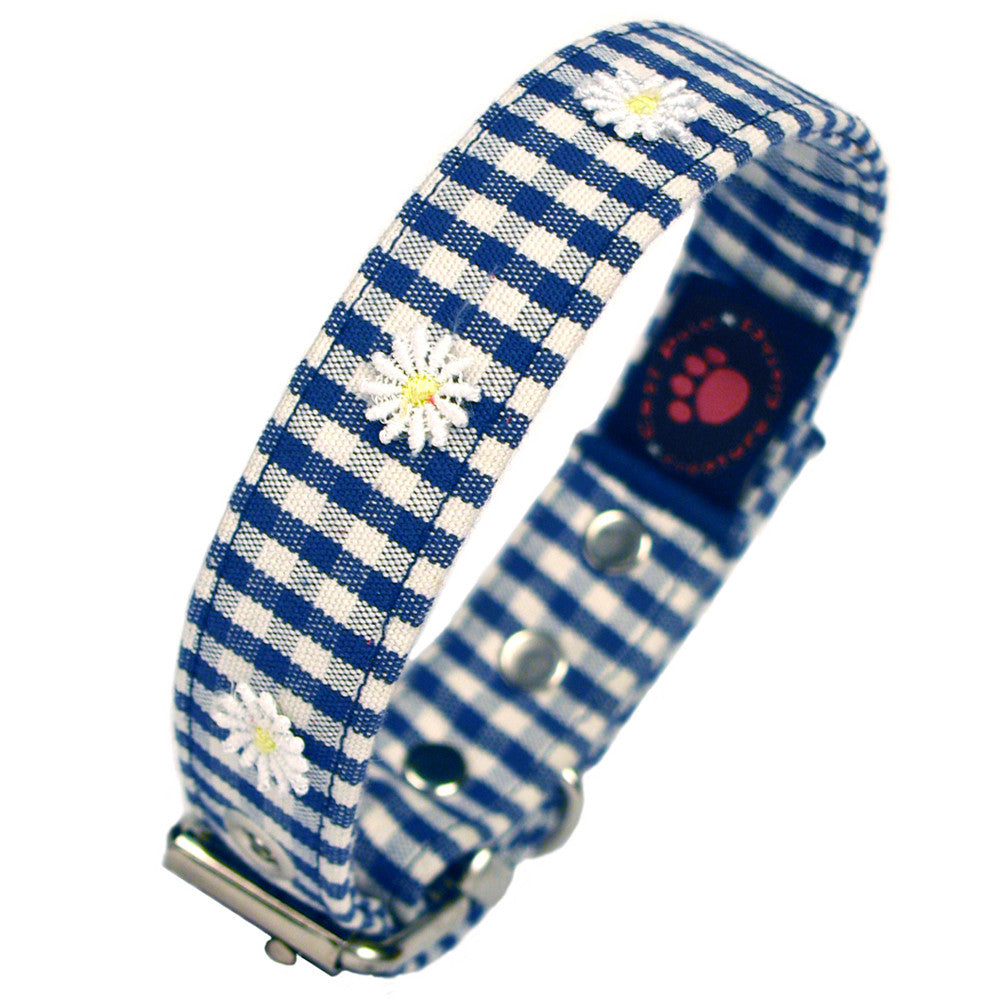 Creature Clothes Blue Gingham Daisy Dog Collar - PurrfectlyYappy