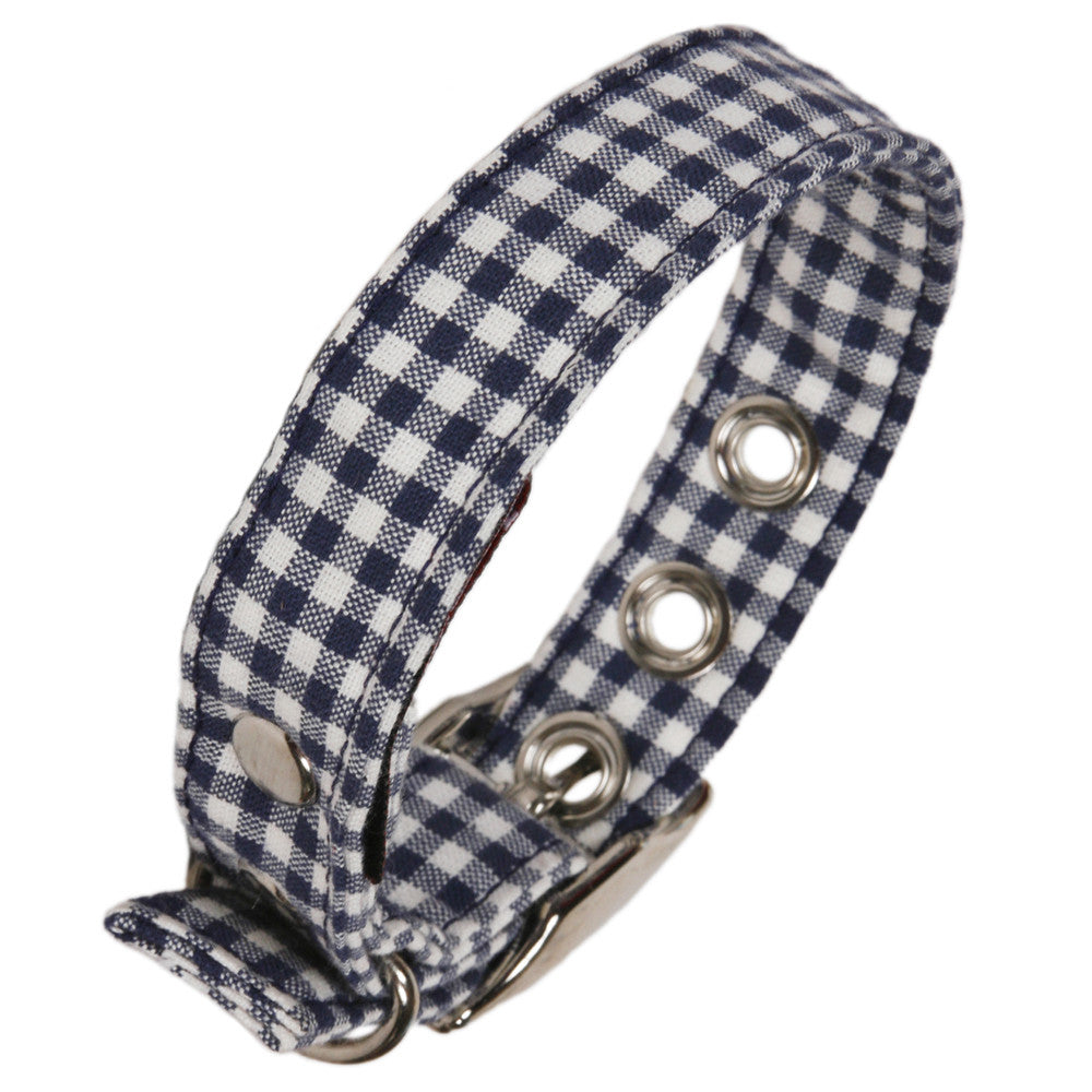 Creature Clothes Blue Gingham Dog Collar - PurrfectlyYappy