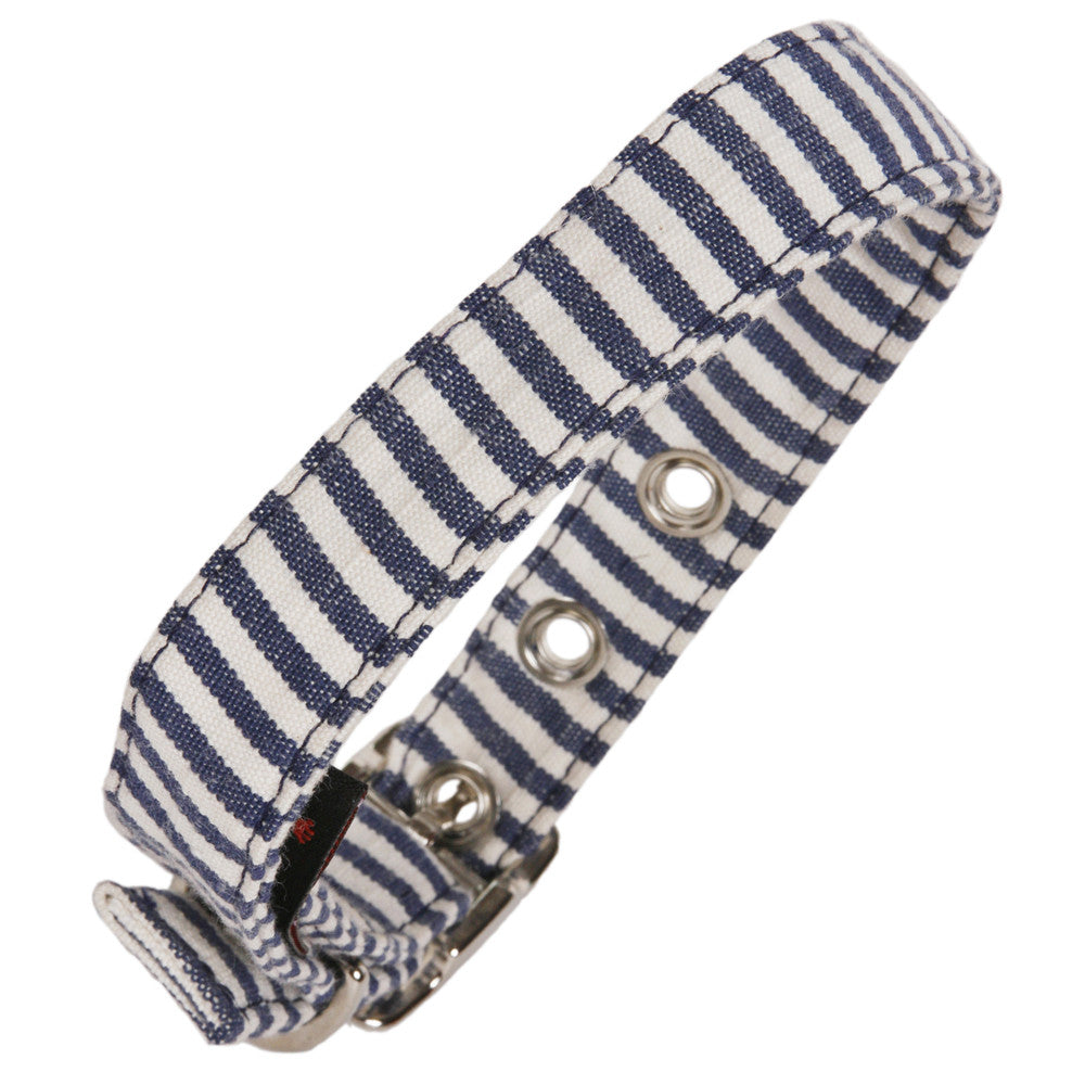 Creature Clothes Navy and White Stripe Dog Collar - PurrfectlyYappy