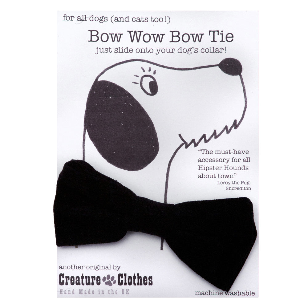 Creature Clothes Black Faux Suede Dog Bow Tie - PurrfectlyYappy