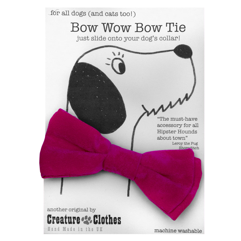Creature Clothes Pink Faux Suede Dog Bow Tie - PurrfectlyYappy
