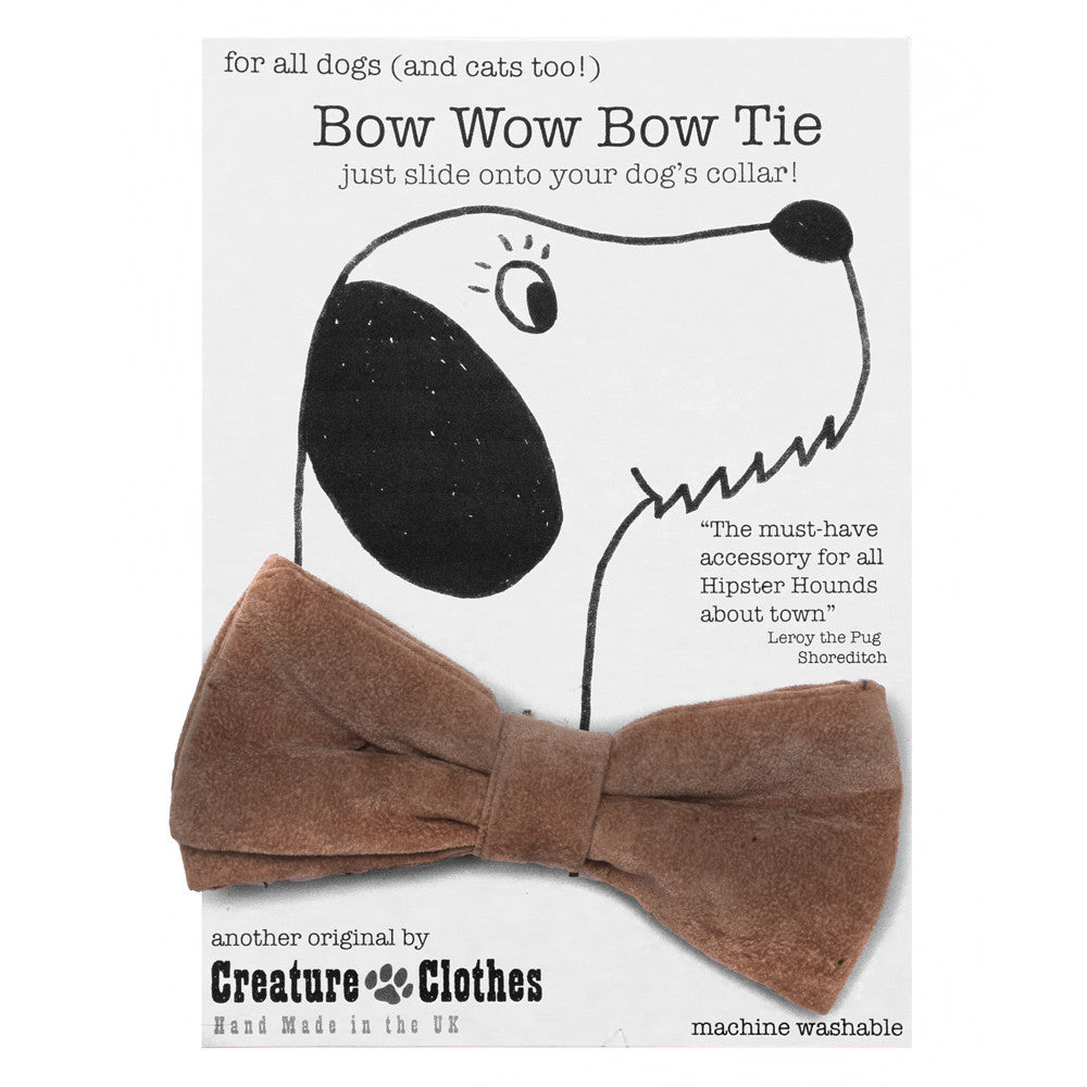 Creature Clothes Beige Faux Suede Dog Bow Tie - PurrfectlyYappy