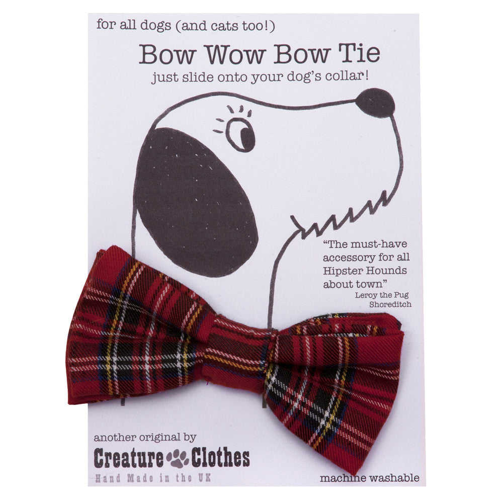 Creature Clothes Red Tartan Dog Bow Tie - PurrfectlyYappy