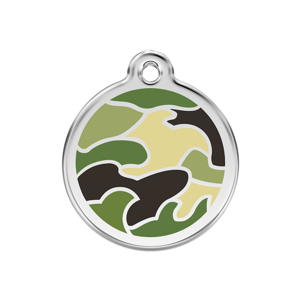 Red Dingo Enamel Pet Tag - Camouflage Tag in Green - PurrfectlyYappy