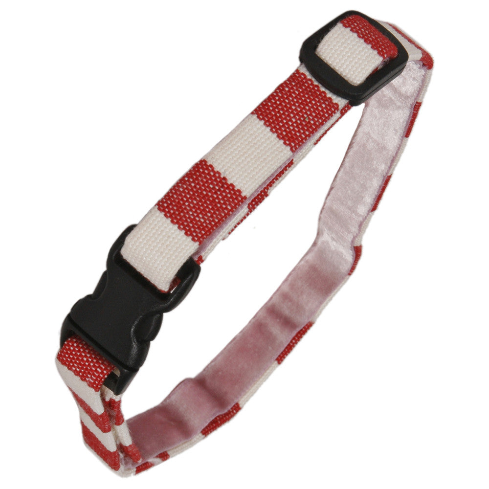 Creature Clothes Red and White Stripe Cat Collar - PurrfectlyYappy