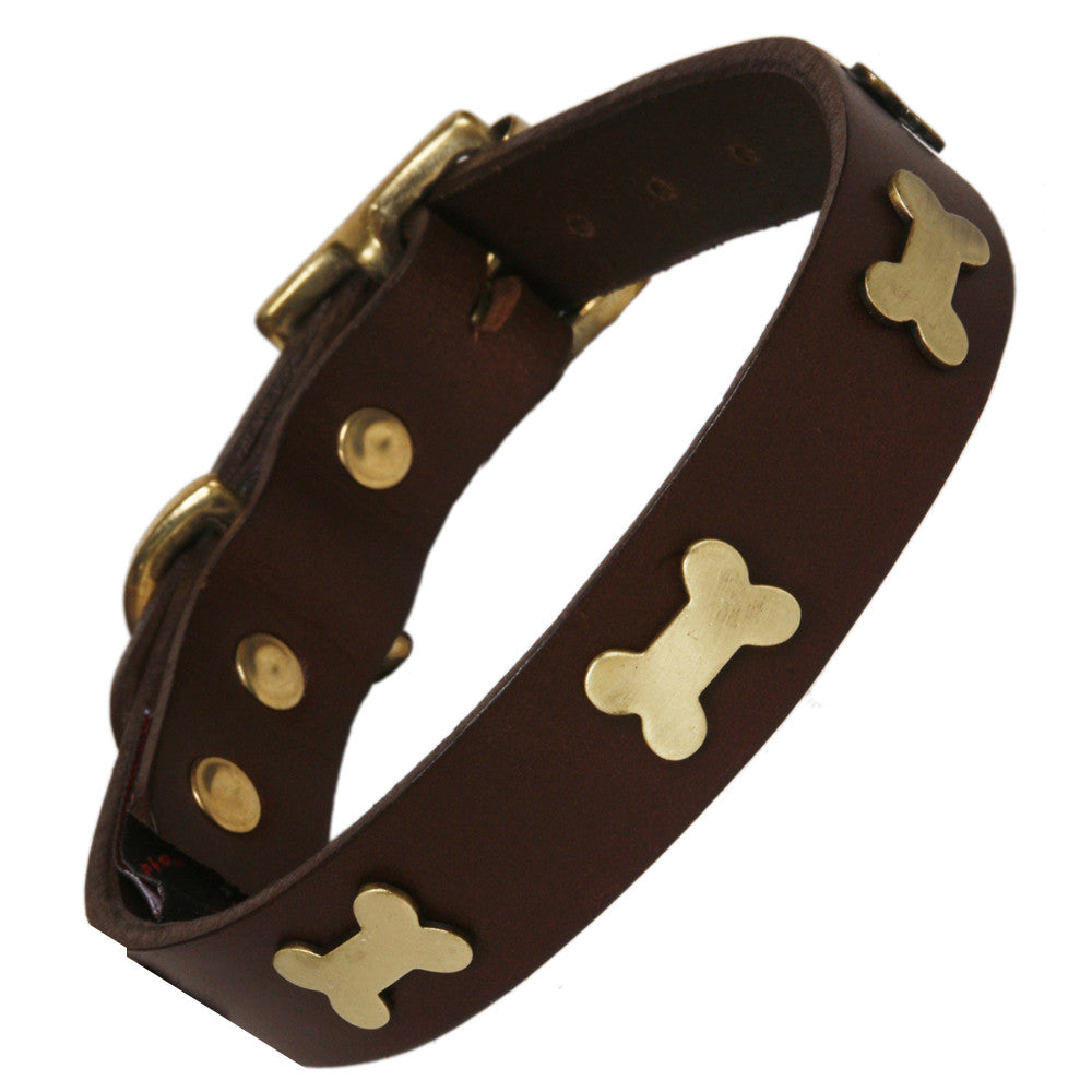Creature Clothes Brass Bone Handmade Brown Leather Dog Collar - PurrfectlyYappy