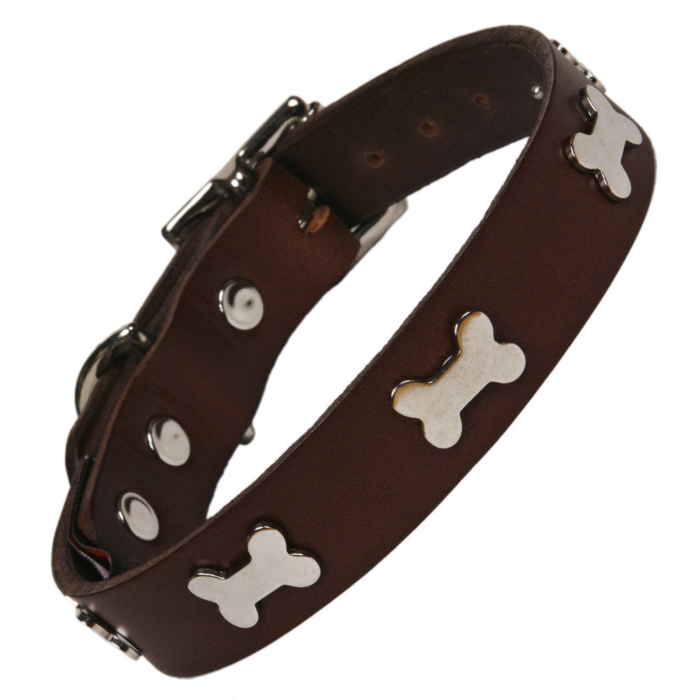 Creature Clothes Silver Bone Handmade Brown Leather Dog Collar - PurrfectlyYappy