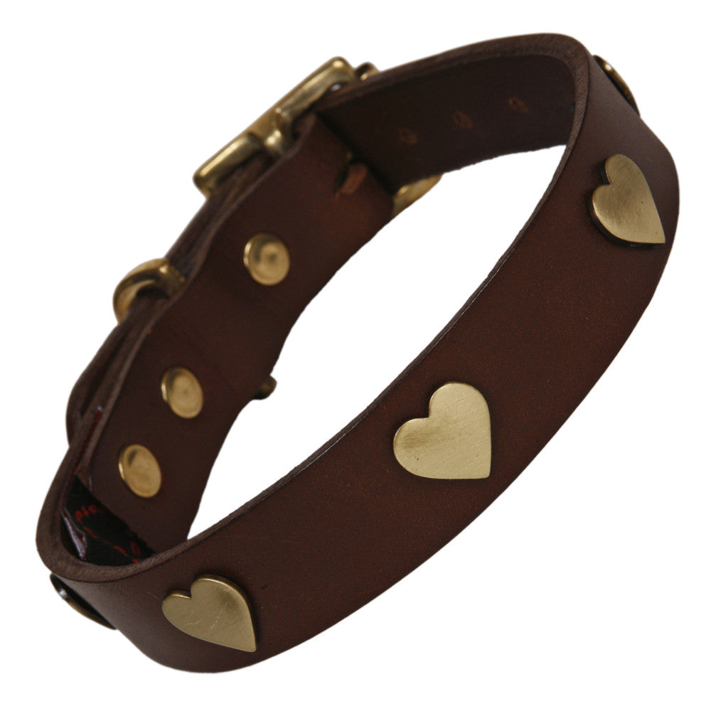 Creature Clothes Brass Heart Handmade Brown Leather Dog Collar - PurrfectlyYappy