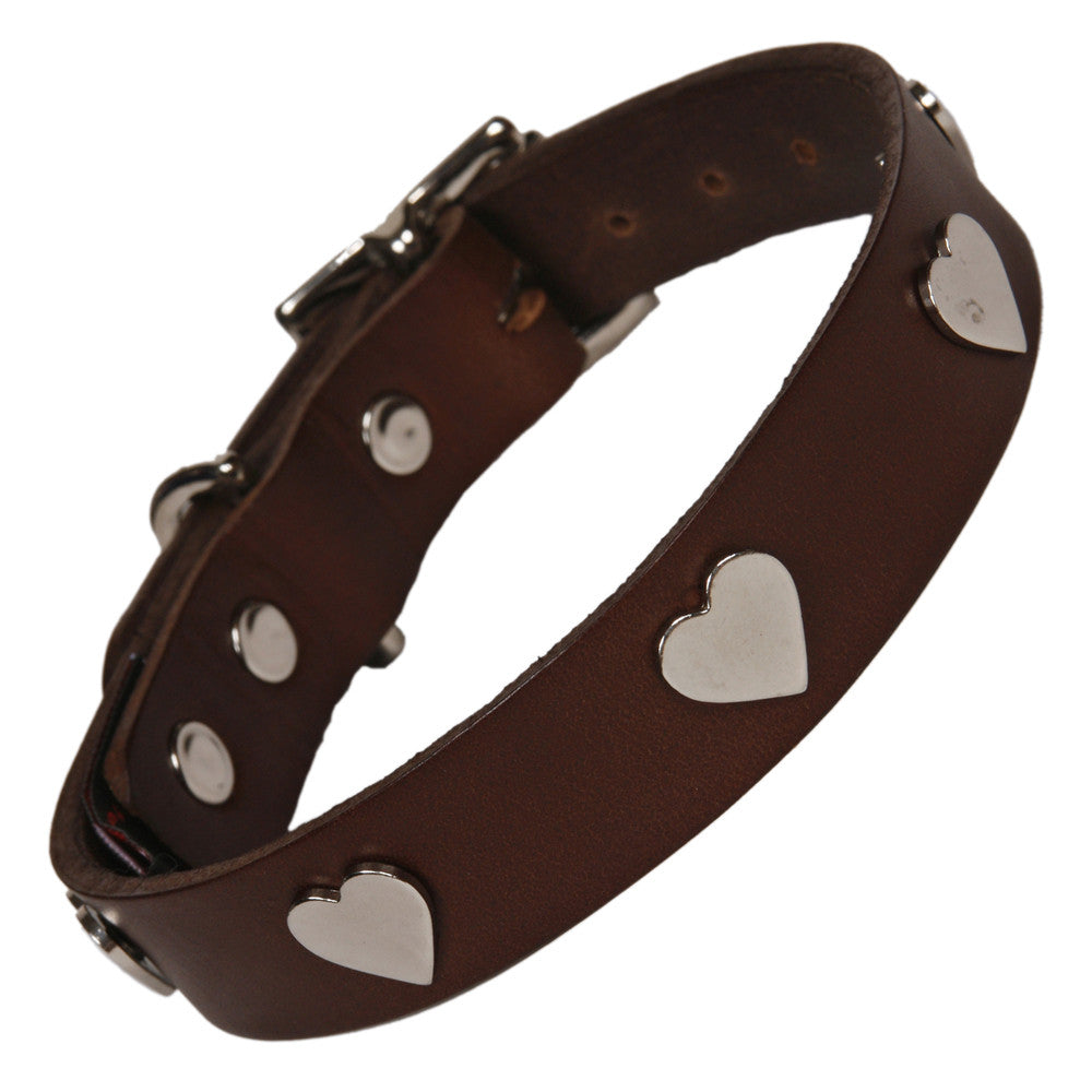 Creature Clothes Silver Heart Handmade Brown Leather Dog Collar - PurrfectlyYappy