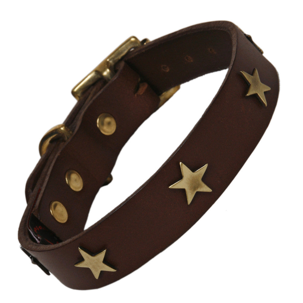 Creature Clothes Brass Star Handmade Brown Leather Dog Collar - PurrfectlyYappy
