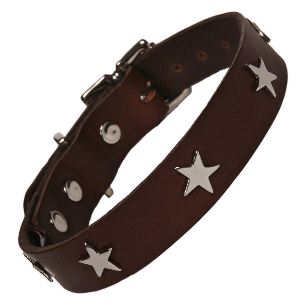 Creature Clothes Silver Star Handmade Brown Leather Dog Collar - PurrfectlyYappy