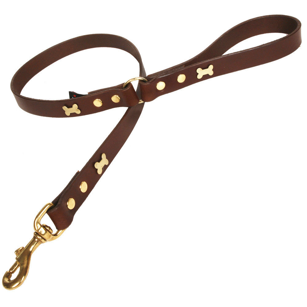 Creature Clothes Brown Leather Dog Lead with Brass Bone Studs - PurrfectlyYappy