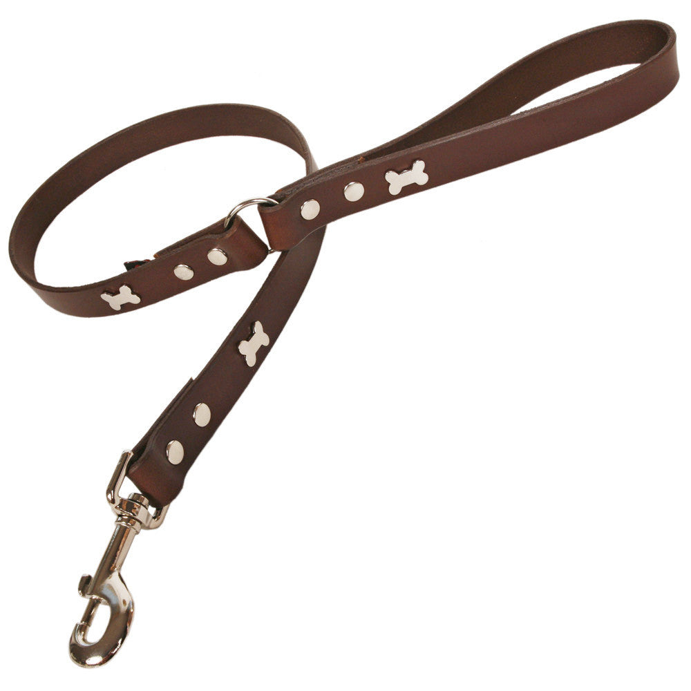 Creature Clothes Brown Leather Dog Lead with Silver Bone Studs - PurrfectlyYappy