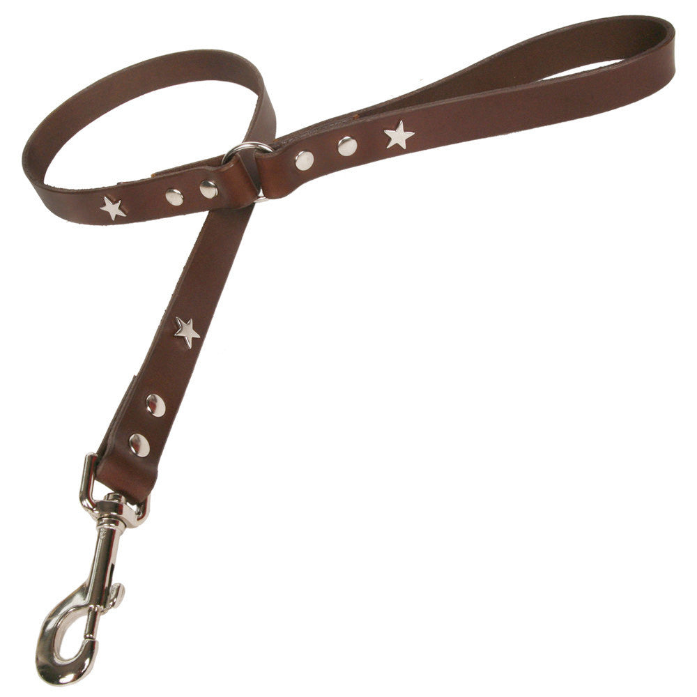 Creature Clothes Brown Leather Dog Lead with Silver Star Studs - PurrfectlyYappy