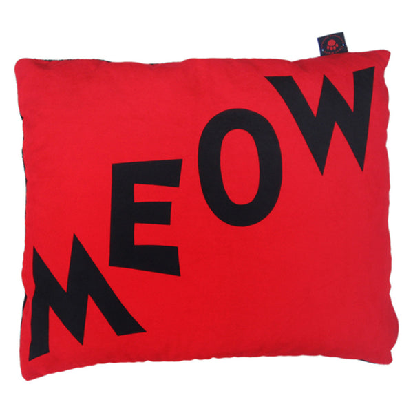 Creature Clothes Cat Nappa Cat Bed in Red Meow Print - PurrfectlyYappy