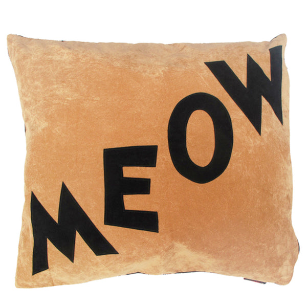 Creature Clothes Cat Nappa Cat Bed in Tan Meow Print - PurrfectlyYappy