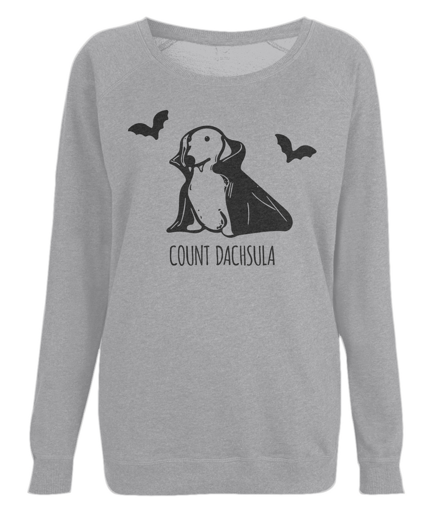 Women's Count Dachsula Organic Cotton Sweatshirt in Grey - PurrfectlyYappy