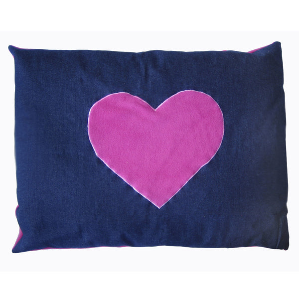 Creature Clothes Cat Nappa Denim Cat Bed with Pink Heart - PurrfectlyYappy
