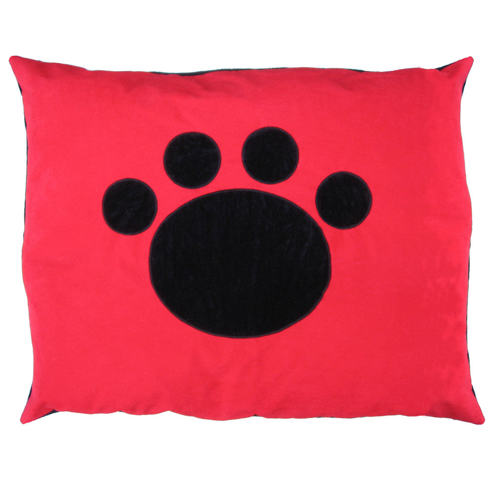 Creature Clothes Cat Nappa Red Cat Bed with Applique Paw - PurrfectlyYappy