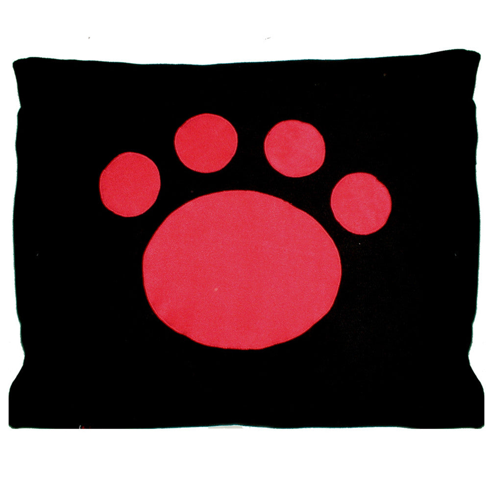 Creature Clothes Cat Nappa Black Cat Bed with Red Applique Paw - PurrfectlyYappy