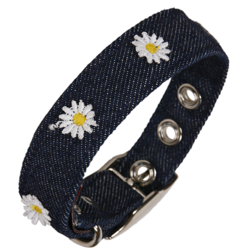 Creature Clothes Denim Daisy Dog Collar - PurrfectlyYappy