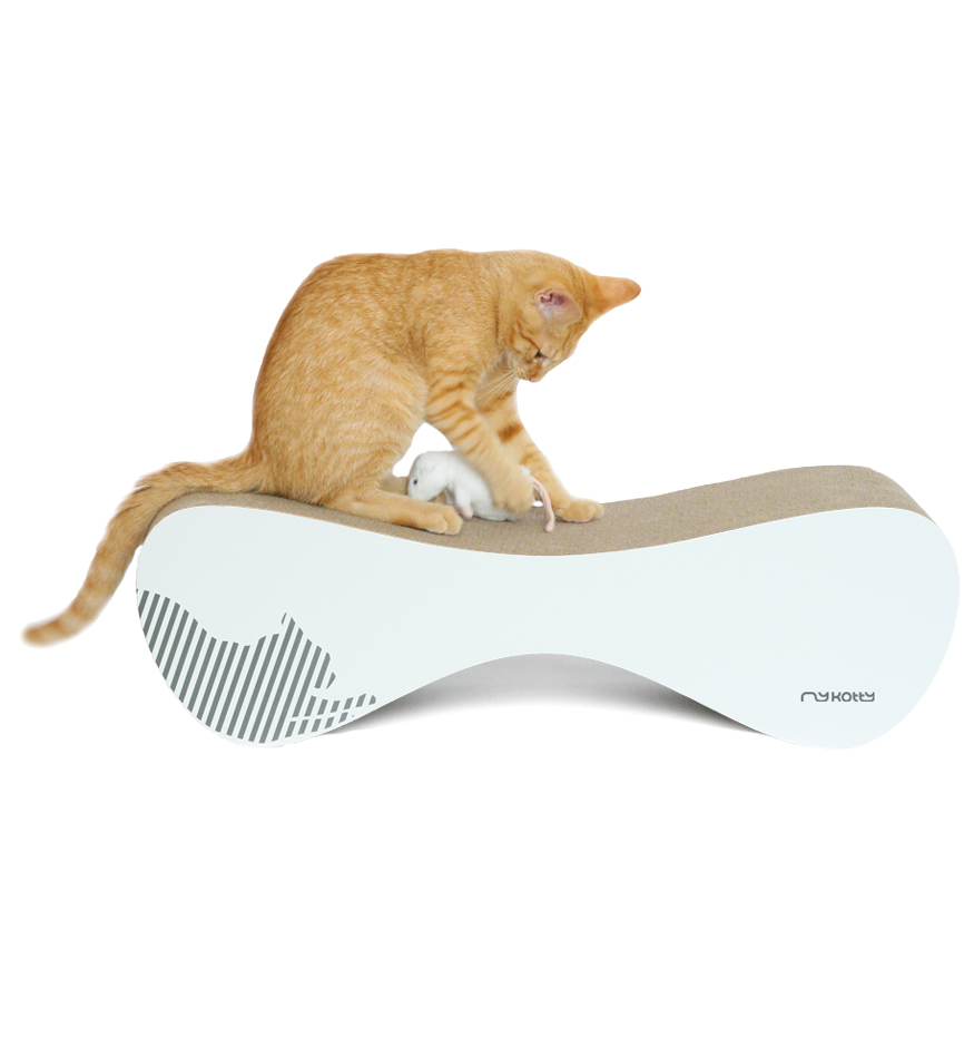 MyKotty Vigo Cardboard Cat Scratcher Lounge In White