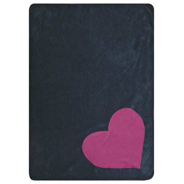 Creature Clothes Pink Heart Grey Fleecy Pet Blanket - PurrfectlyYappy