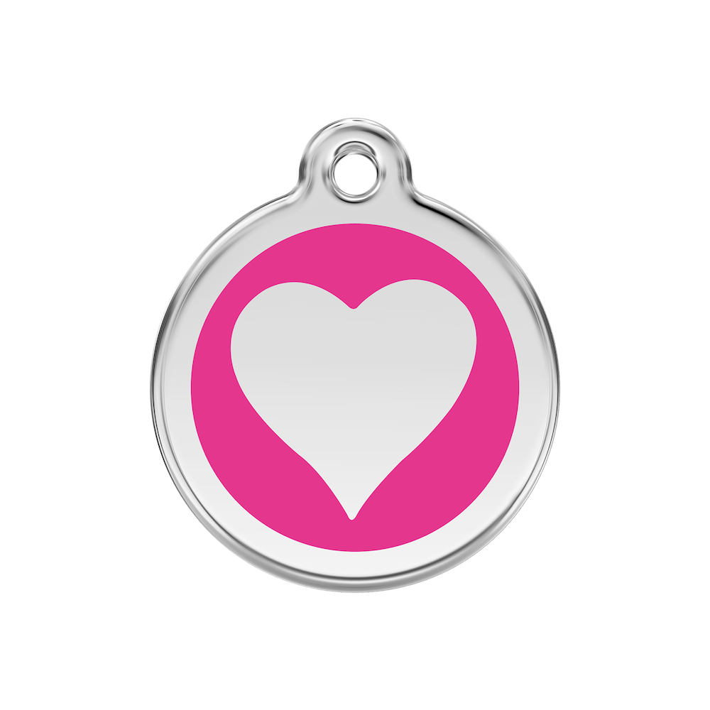 Red Dingo Enamel Pet Tag - Heart Tag in Hot Pink - PurrfectlyYappy