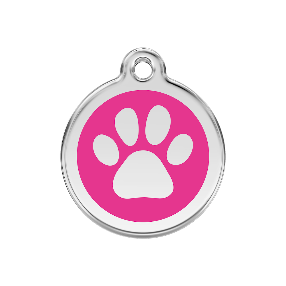 Red Dingo Enamel Pet Tag - Paw Tag in Hot Pink - PurrfectlyYappy