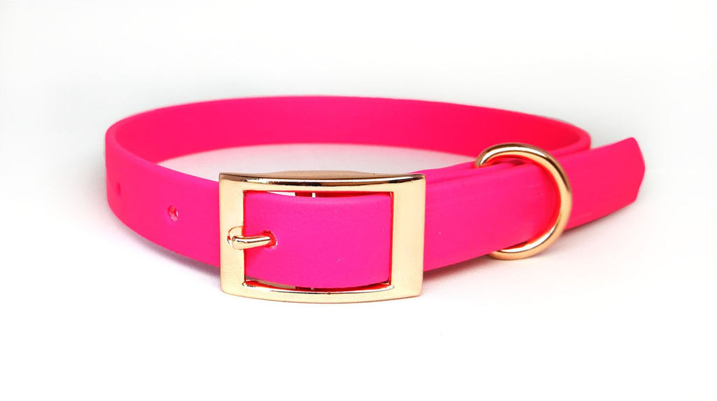 Pet Pooch Boutique BioThane Collar in Hot Pink with Rose Gold