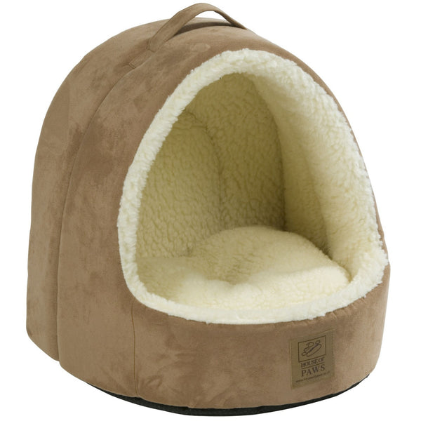 House Of Paws Faux Suede & Sheepskin Hooded Cat Bed - PurrfectlyYappy