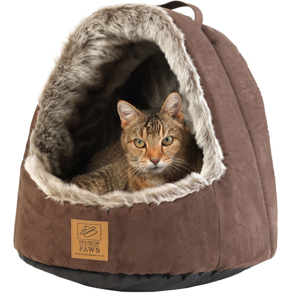 House Of Paws Faux Arctic Fox Hooded Cat Bed - PurrfectlyYappy