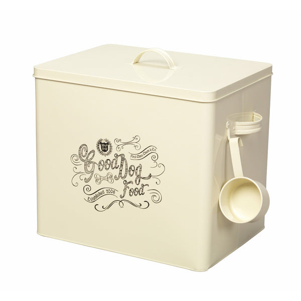 House of Paws Good Dog Extra Large Food Bin with Scoop in Cream - PurrfectlyYappy