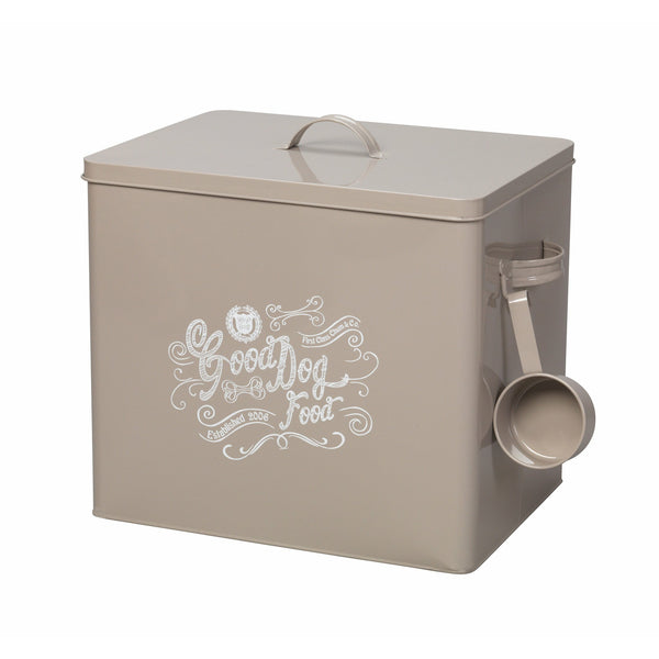 House of Paws Good Dog Extra Large Food Bin with Scoop in Grey