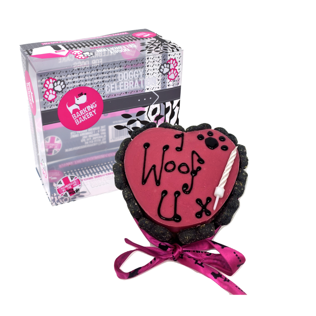 The Barking Bakery Personalised I Woof U Heart Shaped Pawty Cake