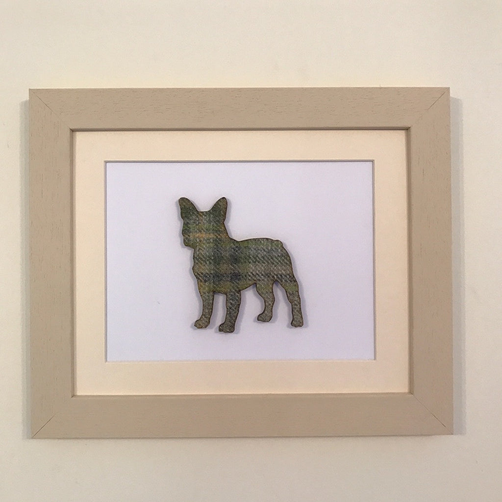 Hunt & Wilson Hunt & Wilson Tweed Dog Art with Wooden Frame - PurrfectlyYappy