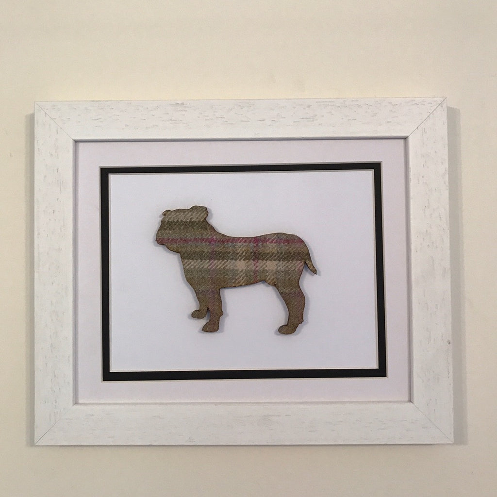 Hunt & Wilson Hunt & Wilson Tweed Dog Art with White Frame - PurrfectlyYappy