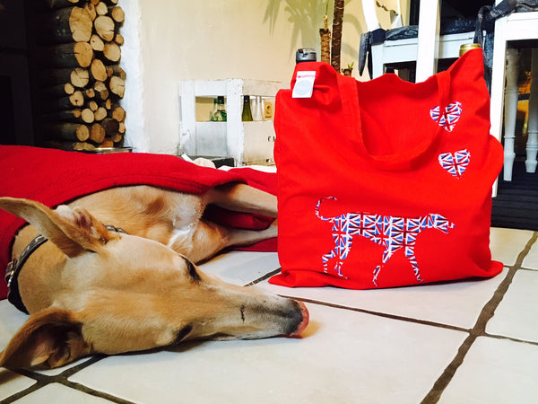 Slumbering Hound Personalised Tote Bag in Red