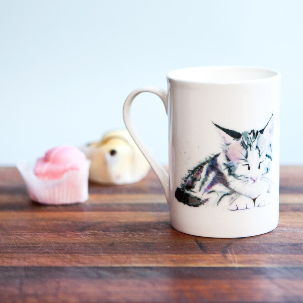 Kate Moby Inky Kitten Fine Bone China Mug - PurrfectlyYappy
