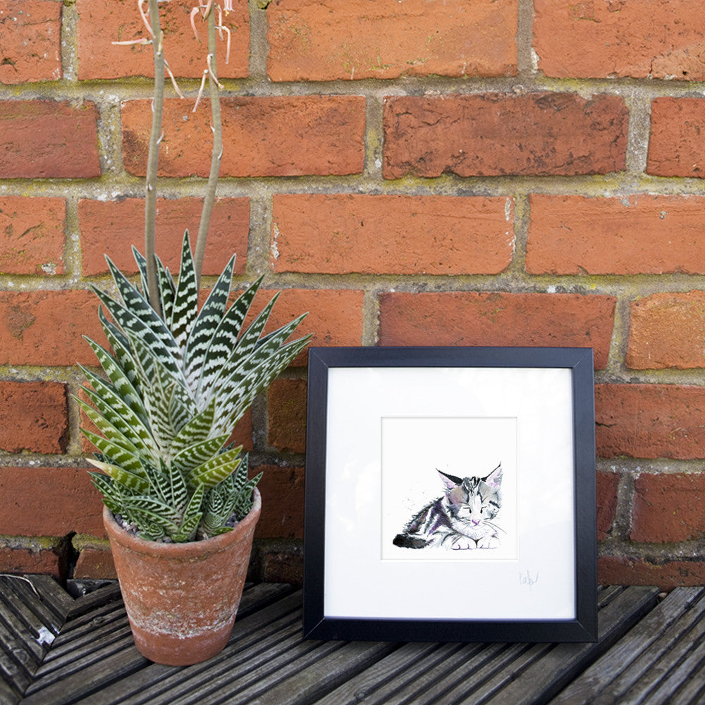 Kate Moby Framed Inky Kitten Print - PurrfectlyYappy