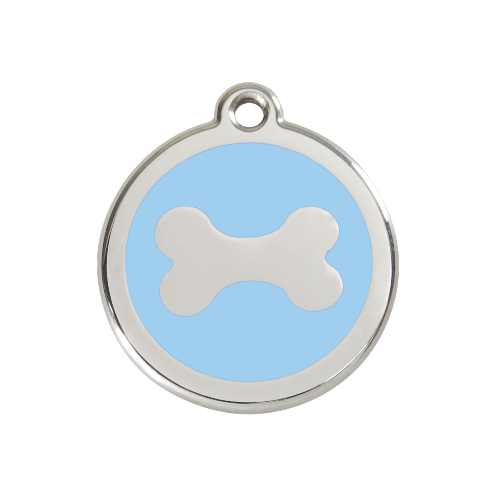 Red Dingo Enamel Pet Tag - Bone Tag in Light Blue - PurrfectlyYappy