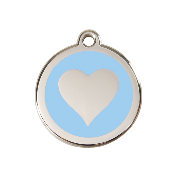 Red Dingo Enamel Pet Tag - Heart Tag in Light Blue - PurrfectlyYappy