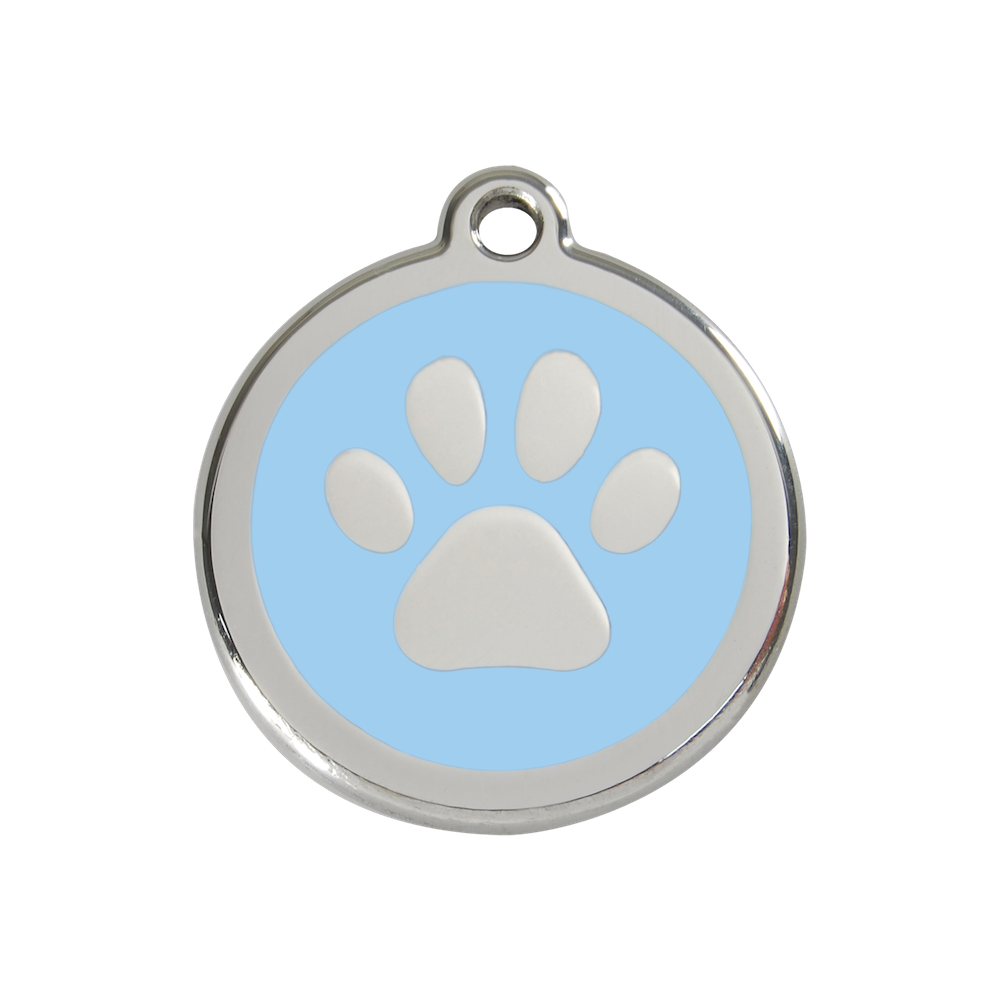 Red Dingo Enamel Pet Tag - Paw Tag in Light Blue - PurrfectlyYappy