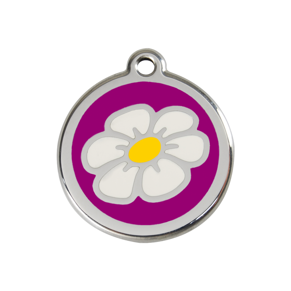 Red Dingo Enamel Pet Tag - Daisy Tag in Purple - PurrfectlyYappy