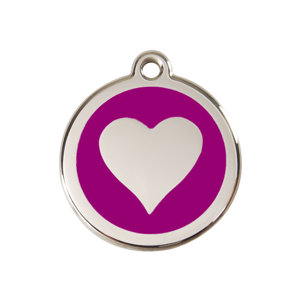 Red Dingo Enamel Pet Tag - Heart Tag in Purple - PurrfectlyYappy