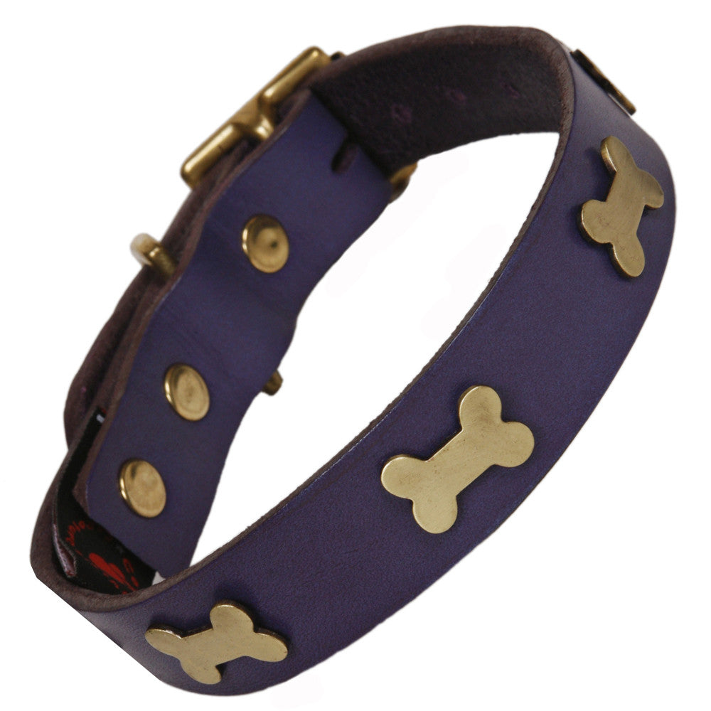 Creature Clothes Brass Bone Handmade Indigo Leather Dog Collar - PurrfectlyYappy